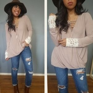 Tops - 2FOR $25| TOUCH OF LACE TAUPE SURPLICE TOP
